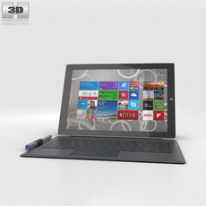 Microsoft Surface Pro 3 Gray Cover 3D Model