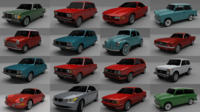 16 Car MegaPack 3D Model