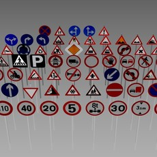 Road sign pack 3D Model