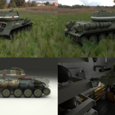 T-34/85 Interior/Engine Bay Full HDRI 3D Model