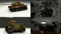 T-34-85 with Interior Camo 3D Model
