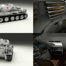 T-34-85 with Interior Winter Camo 3D Model