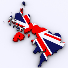 Map of the United Kingdom 3D Model