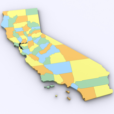 Map of California 3D Model