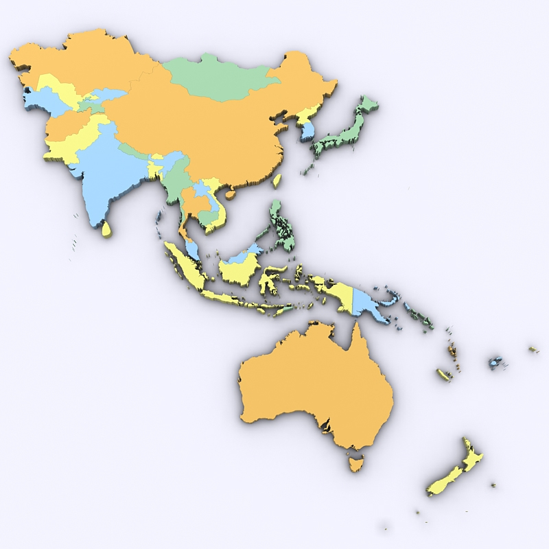 Map of Asia and Oceania 3D Model