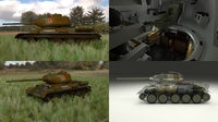T-34/85 Interior/Engine Bay Full HDRI Camo 3D Model