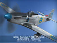 North American P-51D Mustang - Swedisch Airforce 3D Model