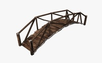 Curved plank wooden bridge 3D Model