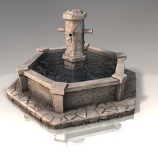 Stone fountain with water 3D Model