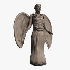 Stone angel statue 3D Model
