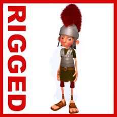 Roman Soldier Cartoon Rigged 3D Model