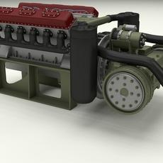 T-34 Engine and Transmission 3D Model