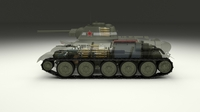 T-34/76 Interior/Engine Bay Full Camo 3D Model