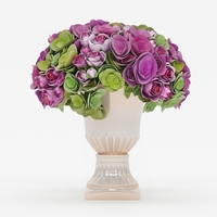 Bouquet of roses and hydrangea flowers 3D Model