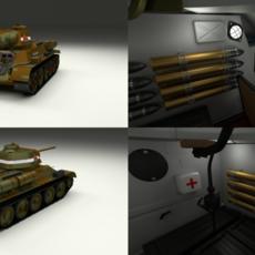 T34/76 with Interior Camo 3D Model