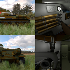T34/76 Tank with Interior HDRI Camo 3D Model