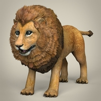 Low Poly Realistic Lion 3D Model