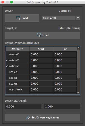 Set Driven Keyframes Tool for Maya