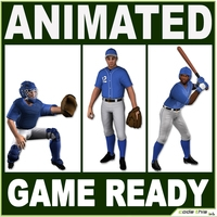 3 Low Poly Baseball Players 3D Model