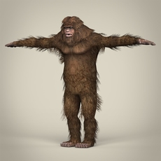 Low Poly Realistic Sasquatch 3D Model