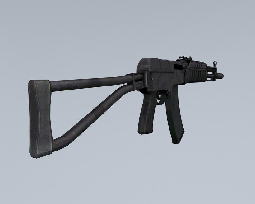 Low poly Gun AK 47 3D Model