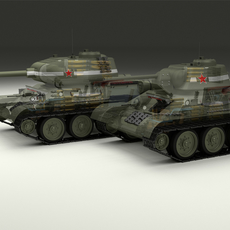 T-34-76/85 w Engine Bay and Interior 3D Model