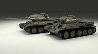 T-34 76/85 Tanks w Interior 3D Model