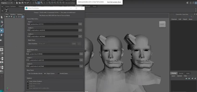 Maya Mesh Reorder / Transfer vertex position Tool for Maya
