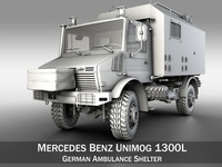 Mercedes Benz Unimog U1300L - German Ambulance Trailer 3D Model