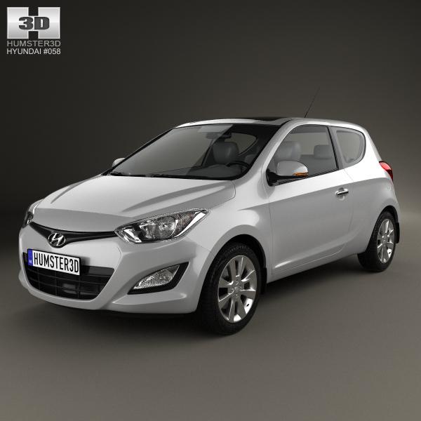 Hyundai i20 3-door 2013 3D Model