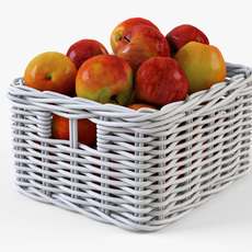 Wicker Apple Basket Ikea Byholma 1 White 3D Model