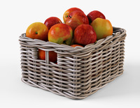 Wicker Apple Basket Ikea Byholma 1 Gray 3D Model