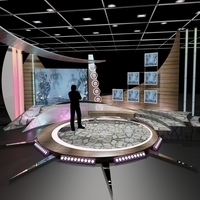 Virtual TV Studio Chat Set 11 3D Model