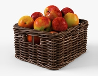 Wicker Apple Basket Ikea Byholma 1 Brown 3D Model