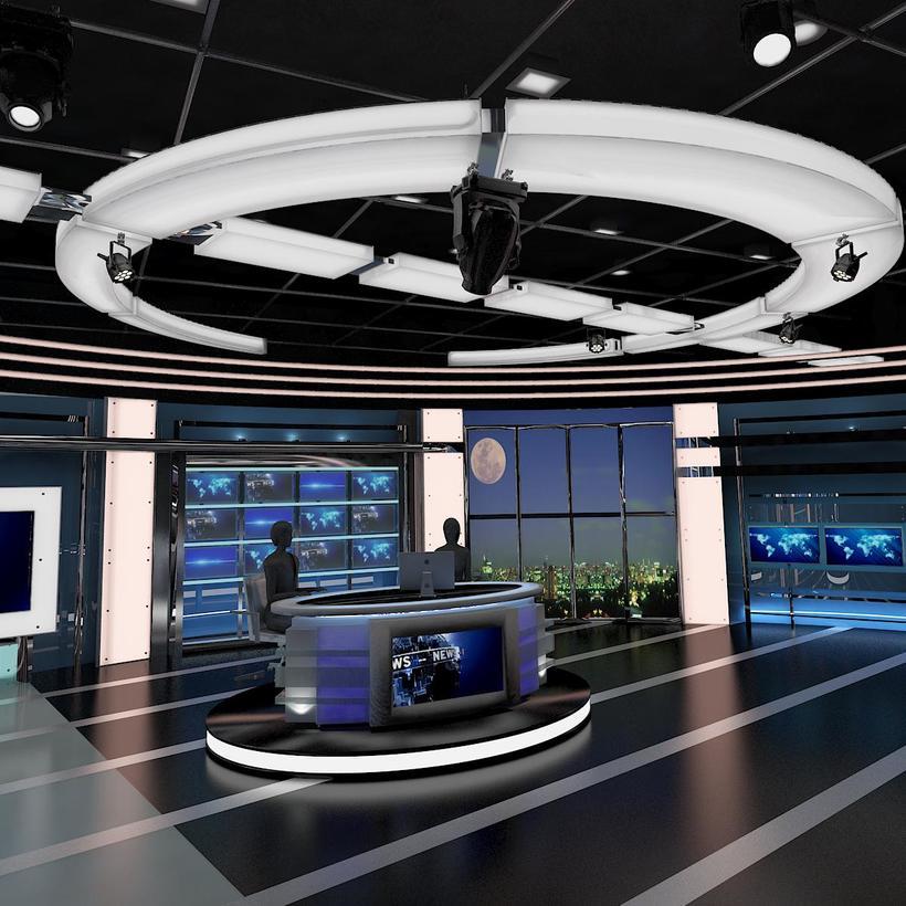 Virtual TV Studio News Set 27 3D Model