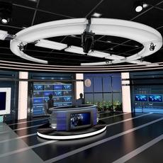 Virtual TV Studio News Set 27 3D Model