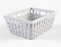 Wicker Basket Ikea Knarra 1 White Color 3D Model
