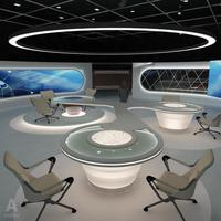 Virtual TV Studio News Set 3 3D Model