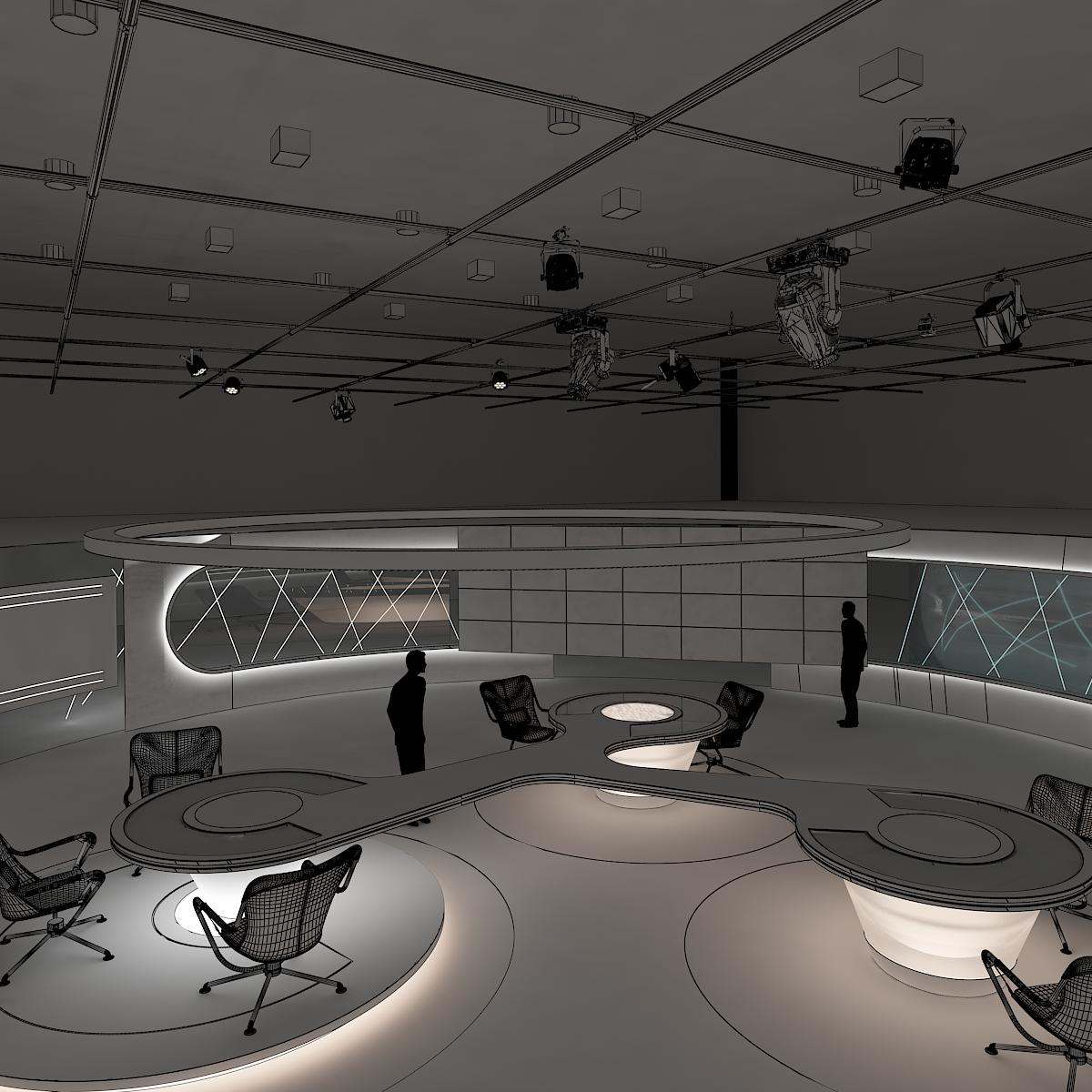 Virtual tv studio news set 3 3d model 3d virtual design