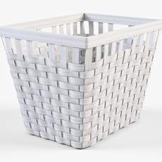 Wicker Basket Ikea Knarra 2 White Color 3D Model