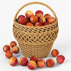 Wicker Basket 01 with Apples 3D Model