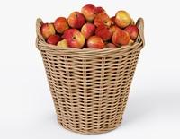 Wicker Basket Ikea Nipprig with Apples 3D Model