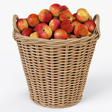 Wicker Basket Ikea Nipprig with Apples 3D Model
