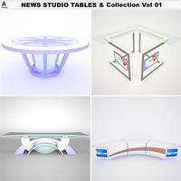 TV News Studio Tables & Vol 01 3D Model