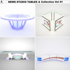 TV News Studio Tables & Vol 01 3D Model