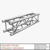 Free Square Truss Straight Segment 021 3D Model