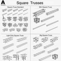 Square Light Trusses (Collection 50 Modular Pieces) 3D Model