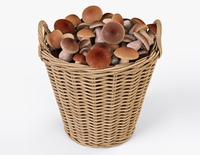 Wicker Basket Ikea Nipprig with Mushrooms 3D Model