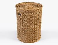 Wicker Laundry Basket 02 3D Model