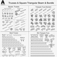Trusses Square Triangular Beam Bundle (Collection 170 Modular Pieces) 3D Model